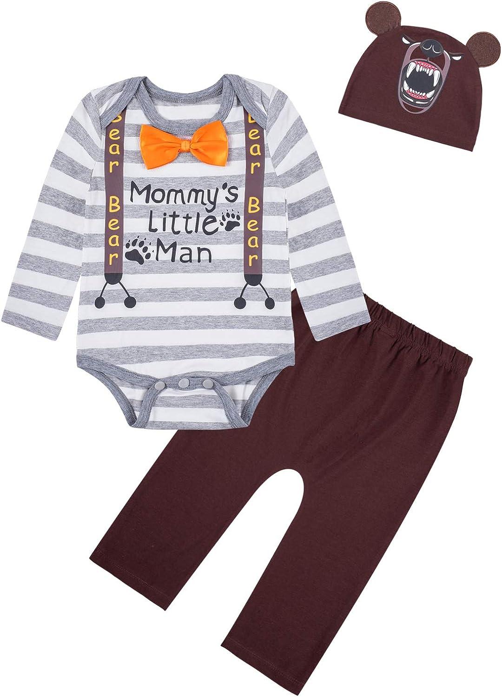 3PCS Newborn Boys Girls Baby Bear Outfit Set Cute Long Sleeve Romper