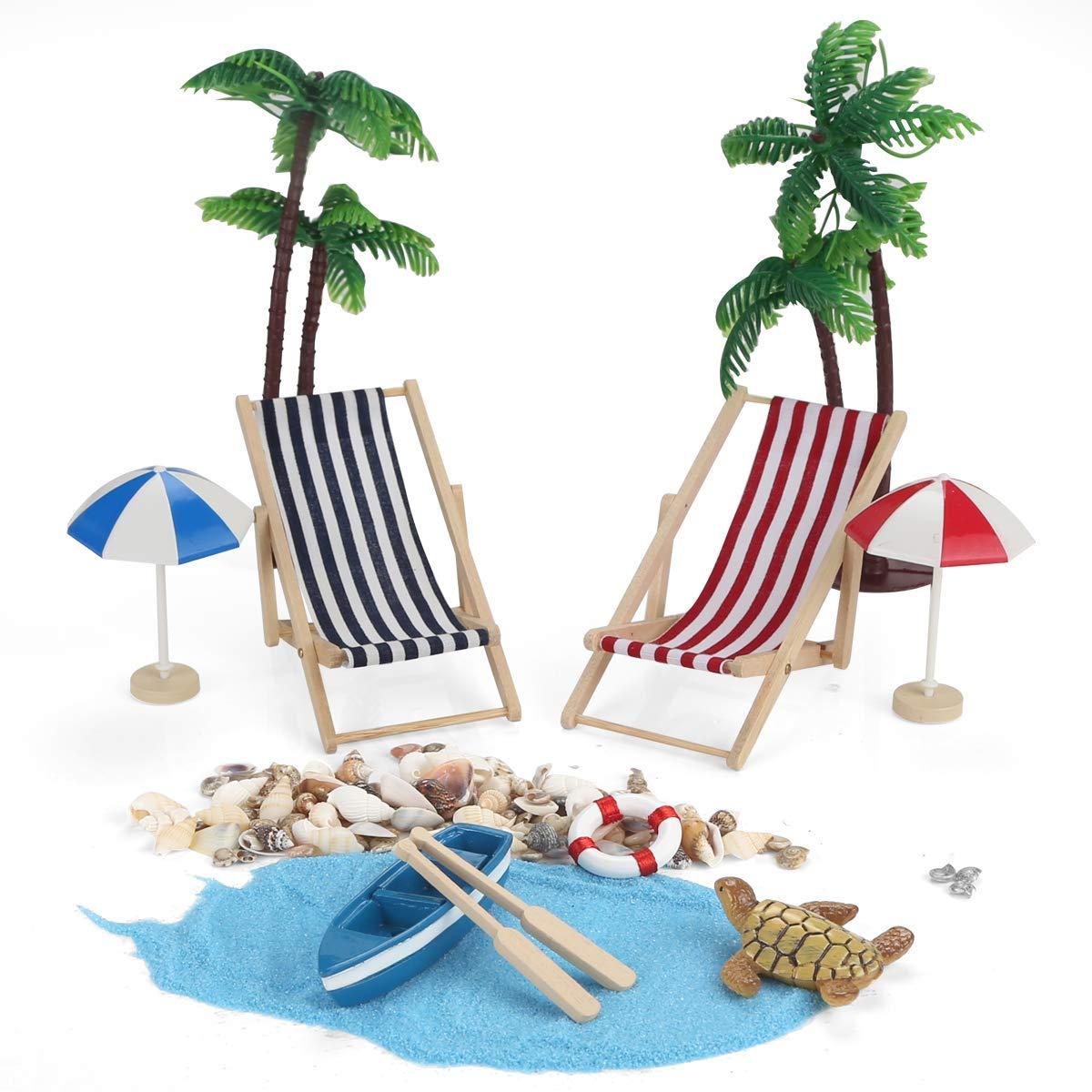 Ailiebhaus 12 Stk Strand Mikrolandschaft Miniliegestuhl Sonnenschirm