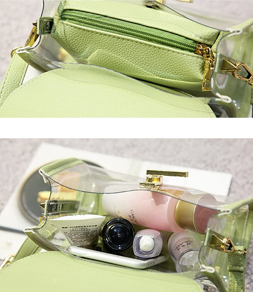 Skyseen 2in1 Clear Transparent Cross-Body Messenger Shoulder Bag Briefcase with Interior Pocket Purse
