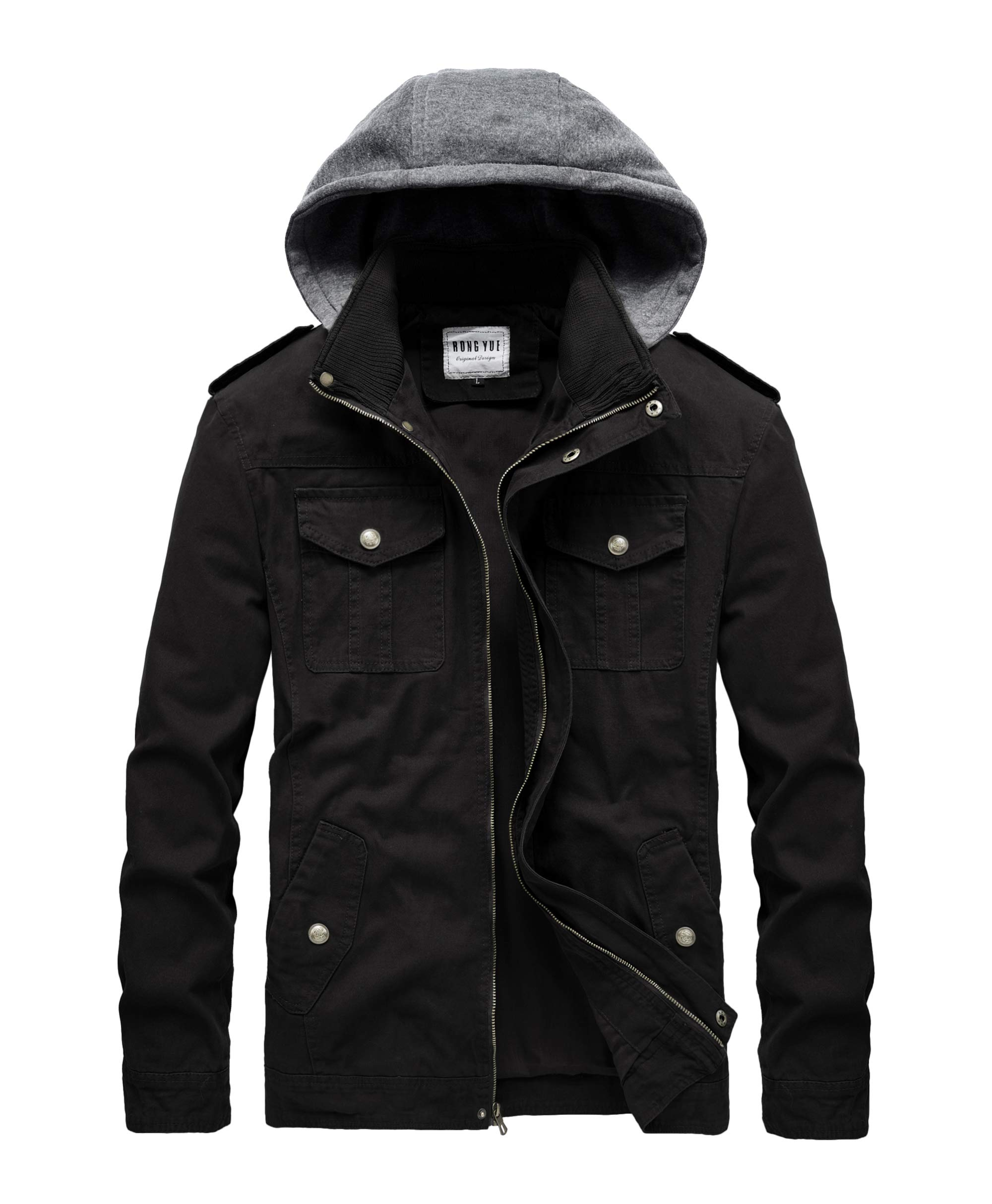 RongYue Men's Casual Cotton Military Jacket with Removable Hood Black by RongYue
