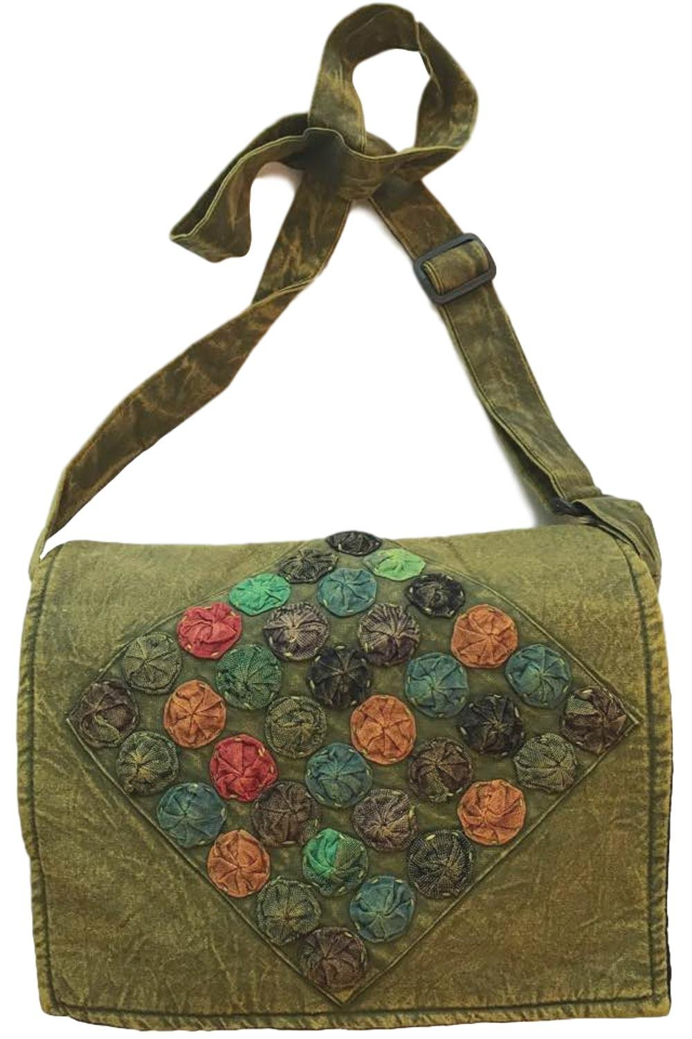 Olive Green and Colorful Circles Handmade Hippie Boho Messenger Bag with Adjustable Strap