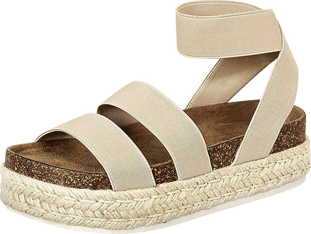 Nude Cambridge Select Women's Open Toe Stretch Strappy Chunky Espadrille Flatform Sandal