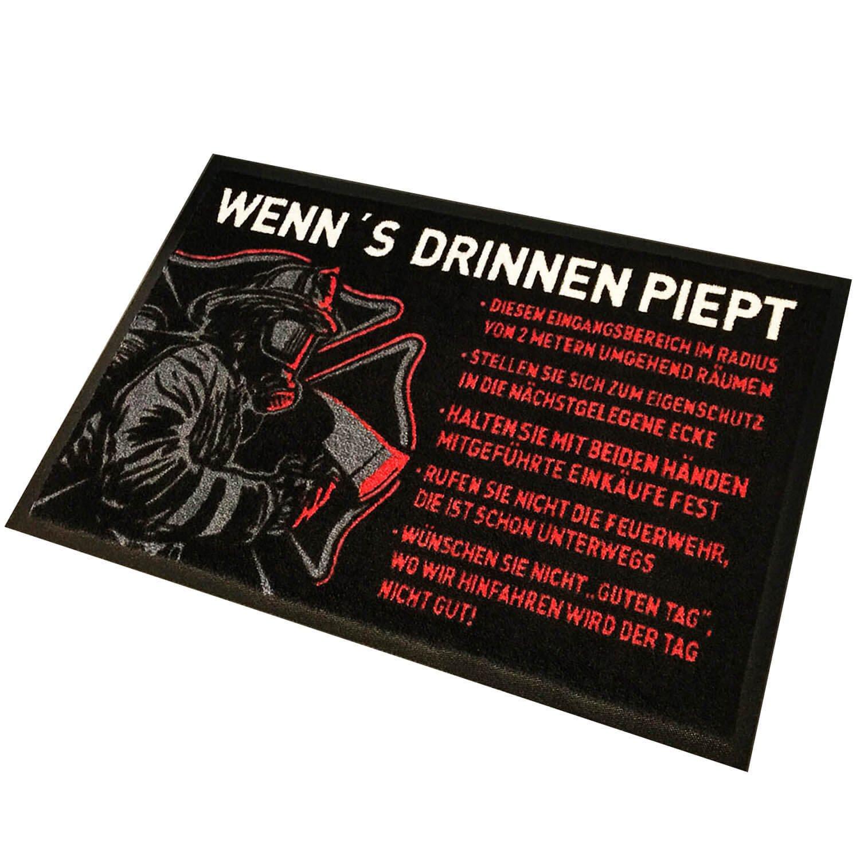 FIRE & FIGHT FIGHT FIGHT Streetwear WENN´s DRINNEN PIEPT - Feuerwehr Fußmatte schwarz rot 75 x 50 cm 28b514