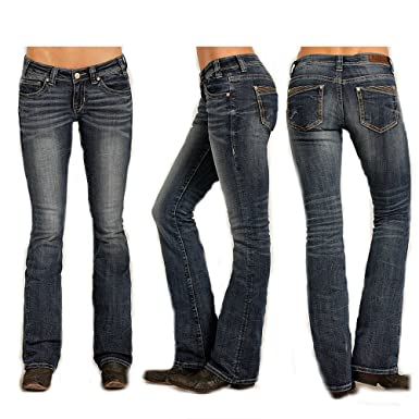 239474b9152 Rock   Roll Cowgirl Rival Corner Seam Low Rise Jeans at Amazon ...