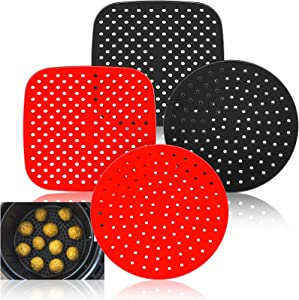 4 Pieces Reusable Air Fryer Liners 7.5 Inch Square and 8 Inch Round Non-Stick Silicone Air Fryer Basket Mats Perforated Silicone Liner Mats for Air Fryer Accessories