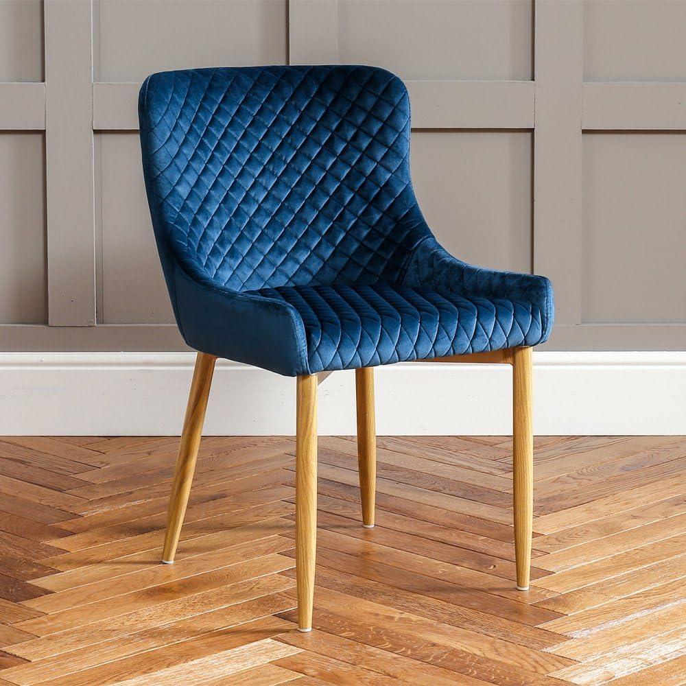 The Furniture Market Paloma - Silla de Comedor de Terciopelo Azul con Patas de Metal Efecto Roble: Amazon.es: Hogar