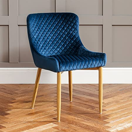 The Furniture Market Paloma Blue Velvet Dining Chair With Oak Effect