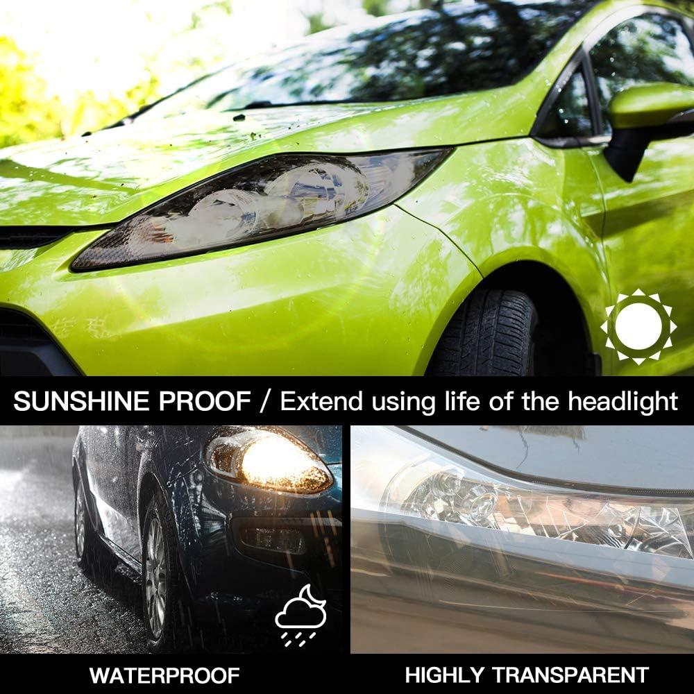 Film adh/ésif en Vinyle teint/é pour phares de Voiture raclette en Vinyle 30 x 300 cm Autocollant pour Phare de Voiture Tint and Protect