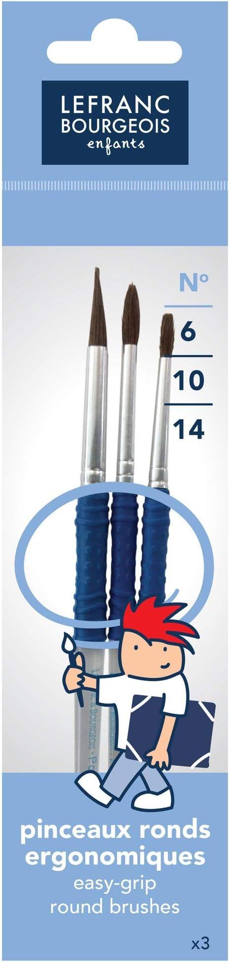 Lefranc & Bourgeois - Grippy, pack de pinceles redondos de pelo de poni, n°2/8/12 , color/modelo surtido: Amazon.es: Juguetes y juegos