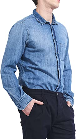 MeltinPot - Camisa Jeans CESTER D0101-UT400 para Hombre, Ajuste Regular, Manga Larga, con un Bolsillo: Amazon.es: Ropa y accesorios