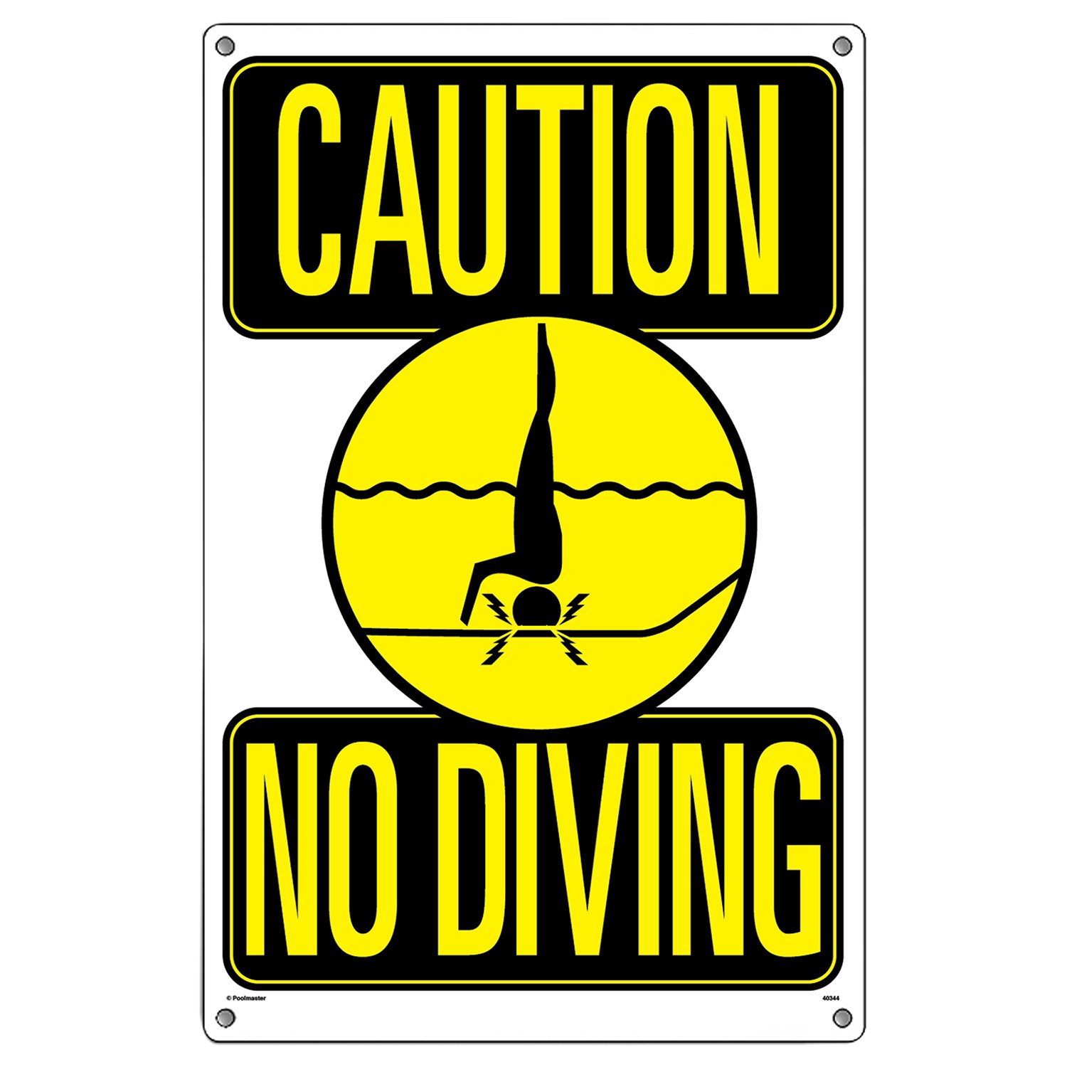 amazoncom poolmaster caution no diving sign for residential or commercial pools swimming pool signage patio lawn u0026 garden - Pool Signs
