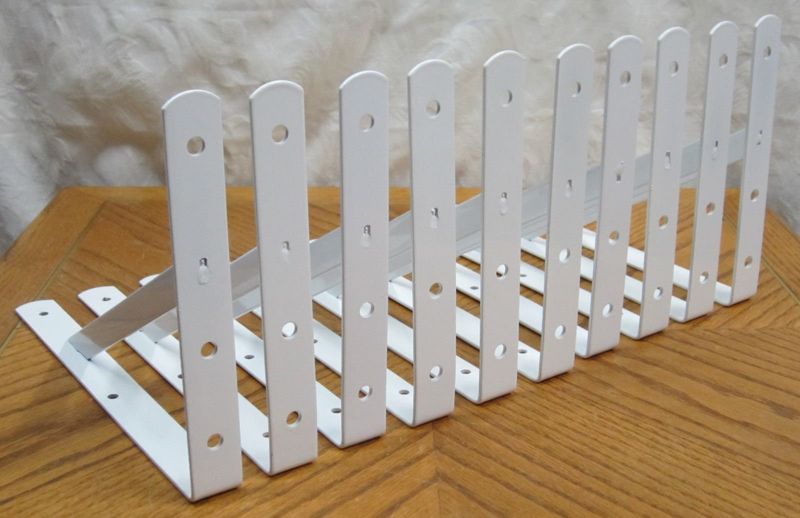 "10 Heavy Duty White Steel 12"" x 8"" Shelf Brackets! 500 Lb Metal Lot L Countertop"