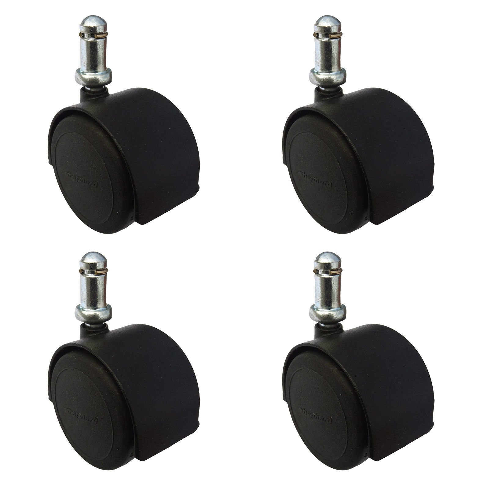 Heavy Duty Office Chair Casters 2-3/8'' (60mm) Pacer Hardwood Floor Safe Urethane Wheels Set of 4 by Shepherd