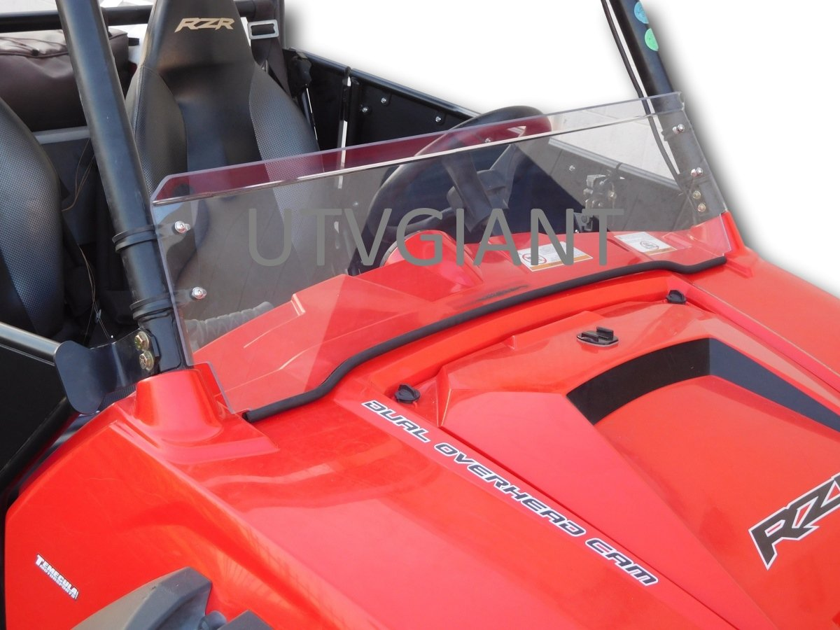 2008-2014 Polaris RZR 800/900 Half Windshield - 1/4'' Thick with Black Clamps