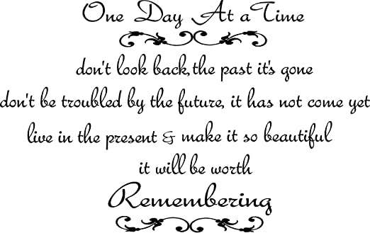 com one day at a time wall decal inspirational wall quote