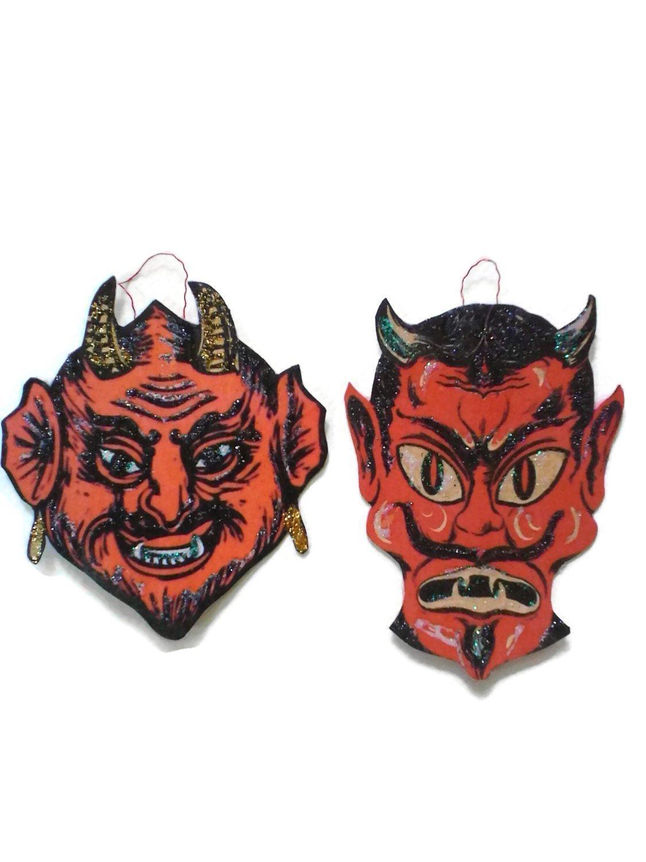 Vintage halloween paper decorations - Amazon Com Krampus Christmas Ornament Decoration Red Devil Evil Halloween Holiday Gift Handmade