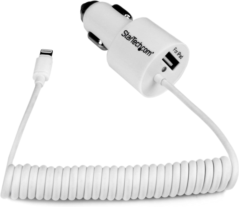 StarTech.com Dual Port Car Charger w/Apple 8-pin Lightning Connector & USB Port – High Power (21W / 4.2A) - Dual iPad Car Charger (USBLT2PCARW)