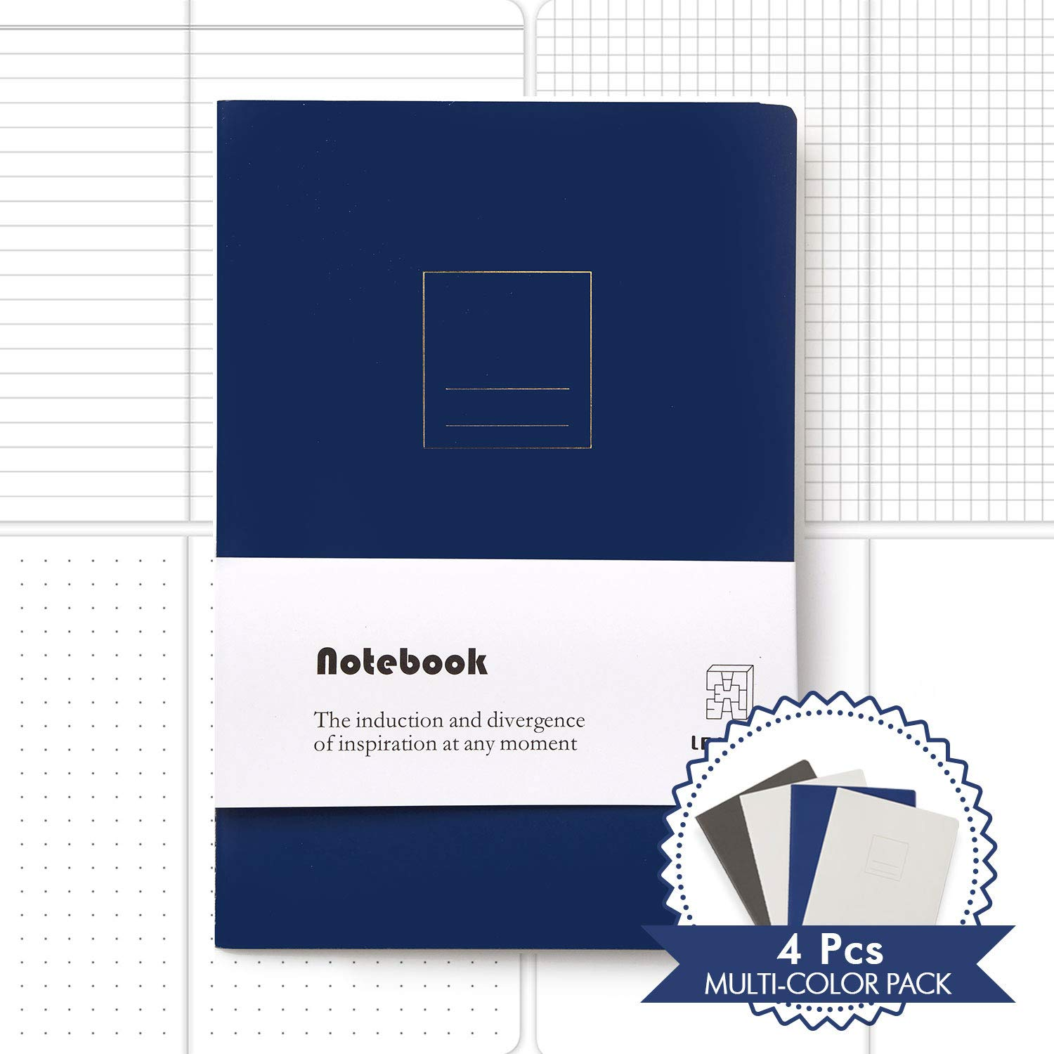 Composition Notebook - Dotted/Blank / Lined/Grid Set-4 Unique Designed – Notebook Gift for Adult & Kids - Great for Writing/Sketching in Office/School/Home for Science/Social Study Works (4 Pack)