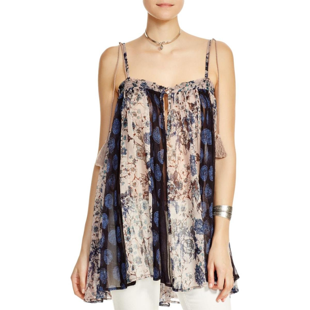 Free People Womens Fathered Floral Print Casual Top Blue M