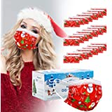 Christmas Masks Disposable for Women - 50 pcs Christmas mask Disposable for Adult 3 Layer Christmas Masks for Man with…