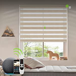 Yoolax Motorized Zebra Shade Work with Alexa, Electric Dual Layer Sheer Blinds with Wifi Hardwired Power Motor, Light Filtering Smart Window Blinds with Remote Control, Custom Size (80% Luxury Coffee)