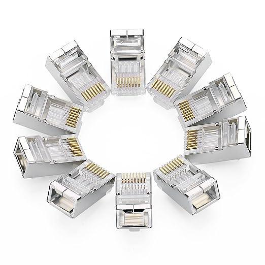 66 opinioni per UGREEN 10 Pezzi Plug Connettori di Rete Cat6, Plug RJ45 Schermato Connettore
