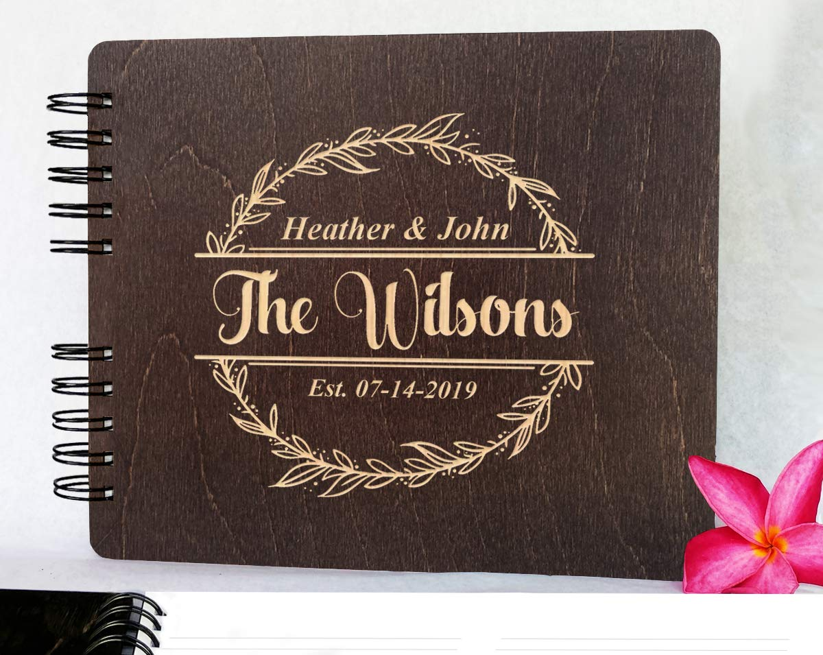 Couples Custom Wreathe (11x8.5 or 8.5'' x7) Guest Book Wedding Mr Mrs Decor Im Getting Married Rustic Photo Album Gift by Weddings-by-StockingFactory (Image #3)