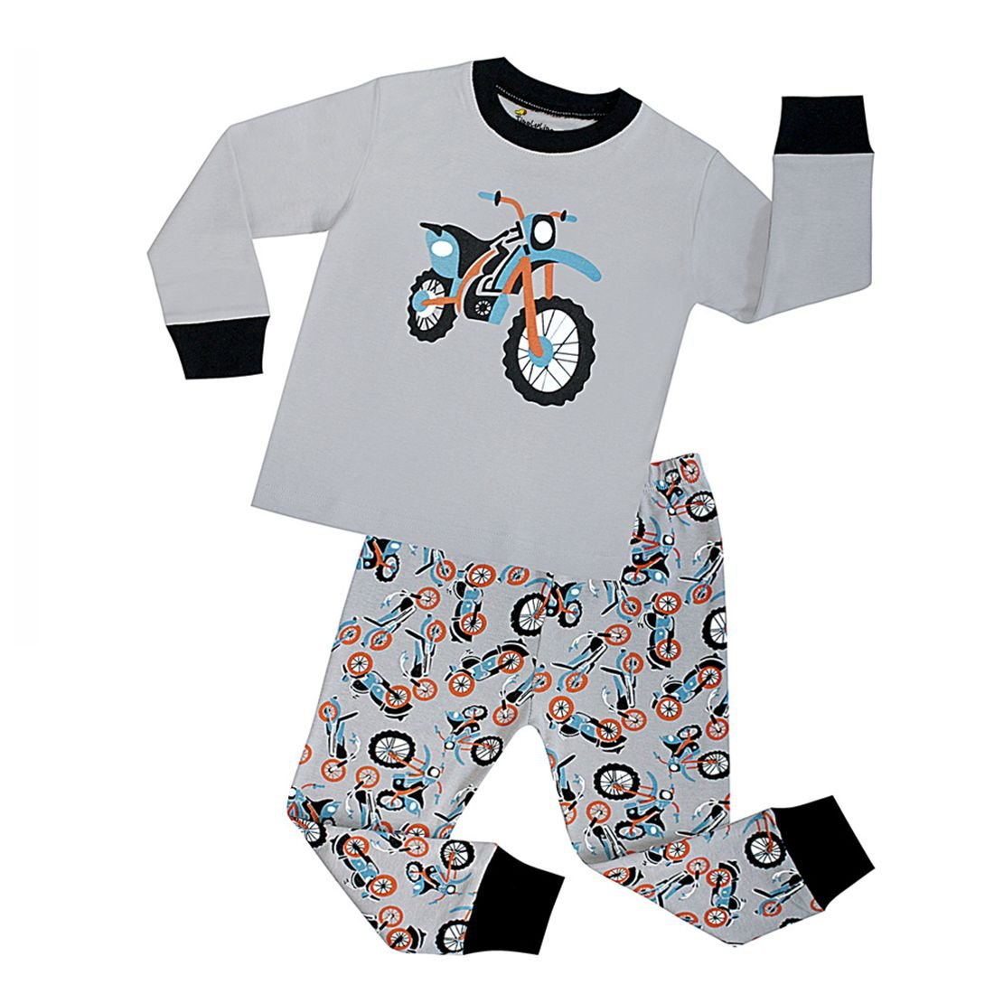 2 Piece Boys Pajamas Rib Long Sleeves Toddler Clothes motorcycle Pjs Sleepwear Czofnjesi