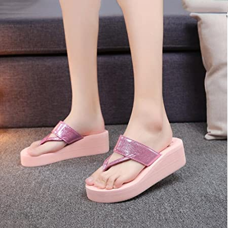 83f4649512d Lady s Slim Strap Flip Flops Slope Wedge Heels Sandals Slide Platform  Thongs Slipper Clip Toe Soft