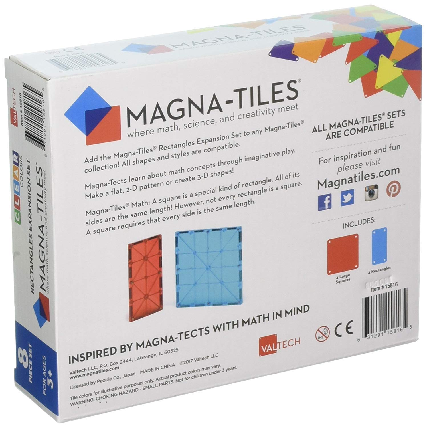 Magna-Tiles 32-Piece Clear Colors Set - The Original, Award-Winning Magnetic Building Tiles - Creativity and Educational - STEM Approved Bundled 8-Piece Rectangles Expansion Set - The by Magna-Tiles (Image #7)