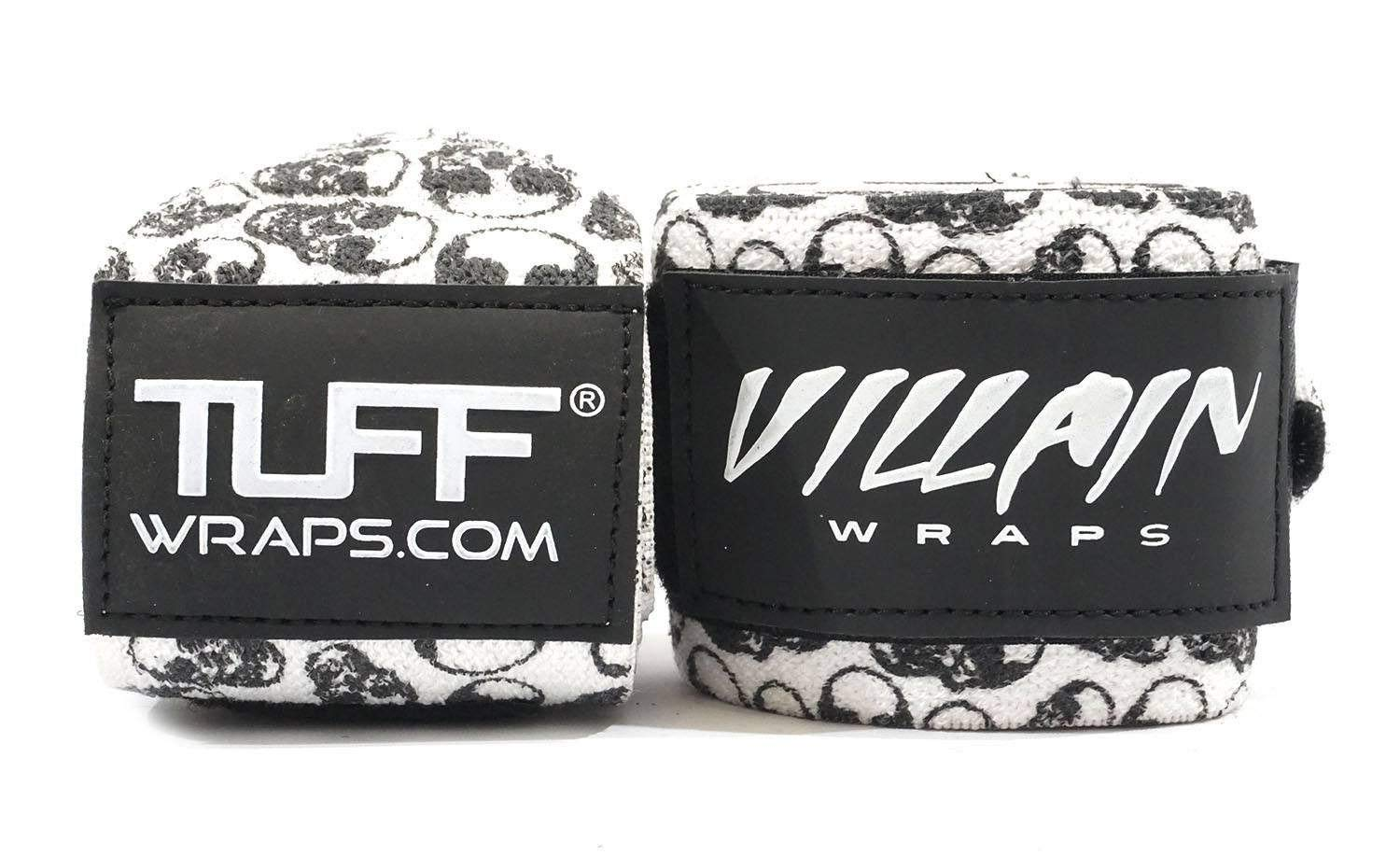 Villain Wrist Wraps 16'' for Powerlifting, Weightlifting, Strongman Training, Crossfit - Never Fuss with Thumb Loops Again - 30 Day Guarantee - (Skull Print, 16 Inches)