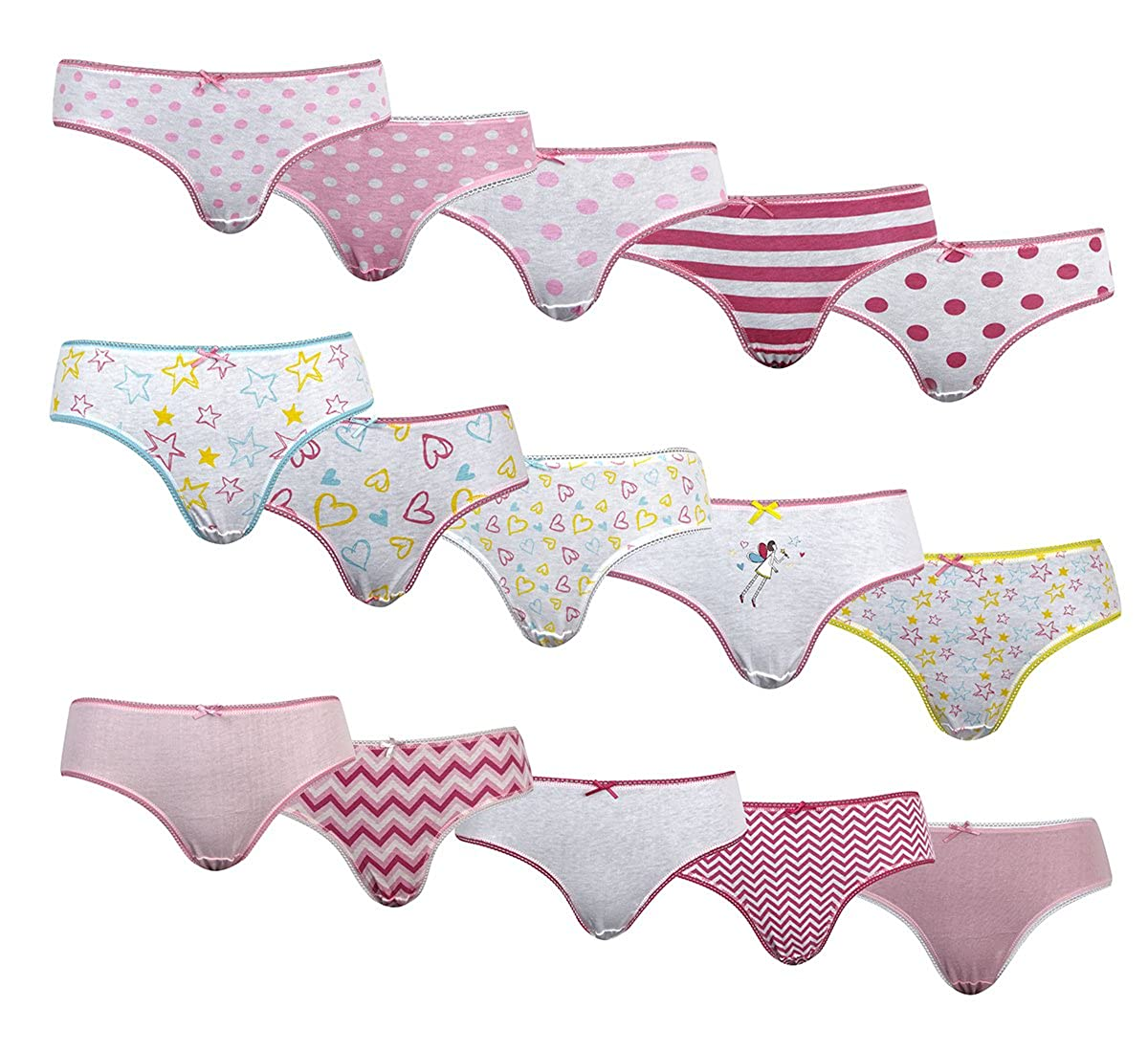 4Kidz Girls 5-10 Pair Multibuy Patterned Cotton Panties