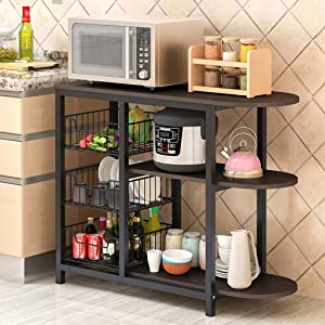 m·kvfa 3-Tier Kitchen Baker's Rack Microwave Oven Stand Storage Cart Workstation Storage Shelf Spice Rack Organizer Storage Baskets (Black)