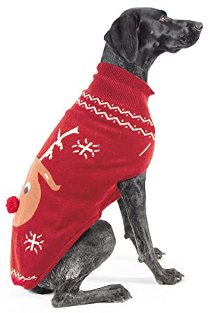 ancol christmas reindeer dog sweater large 50cm 20 - Large Dog Christmas Sweaters