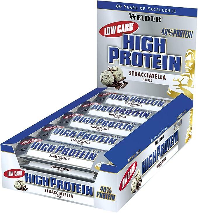 Weider 40% Protein Low Carb. Barrita alto contenido en proteínas sin hidratos de carbono. 40% de proteínas por barrita. Sabor Stracciatella (24 x 50 ...
