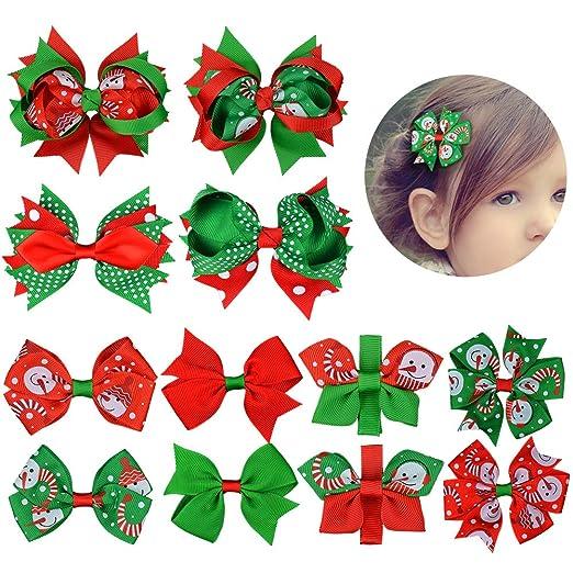 Christmas Hair Clips.Amazon Com 12 Piece Christmas Hair Bow For Girls Christmas