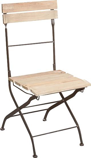 Set 2 sillas plegables en hierro y madera acabado antiguo ...