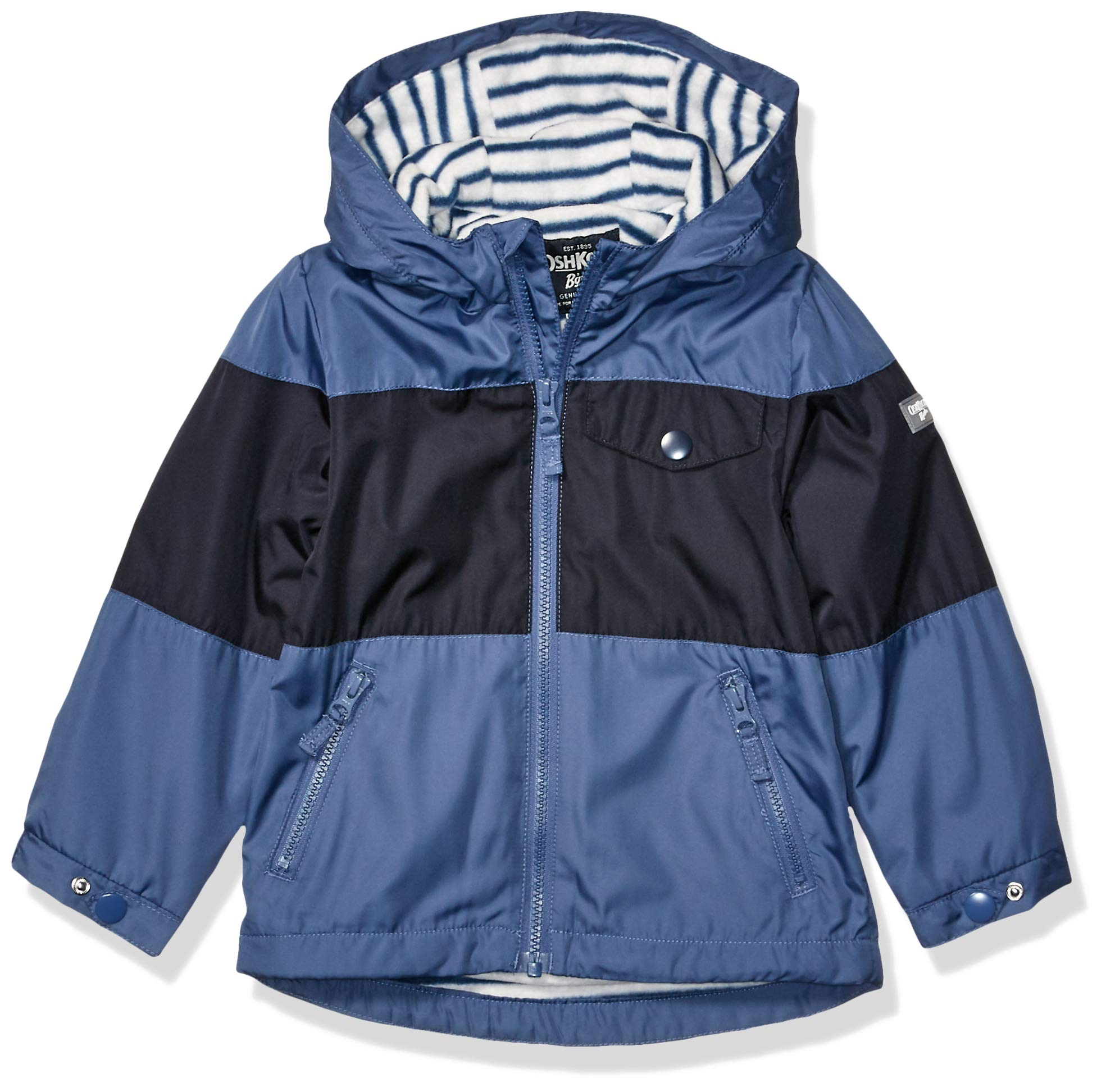 Osh Kosh Boys' Little Midweight Jersey Lined Jacket, Blue Black Color Block, 7 by OshKosh B'Gosh
