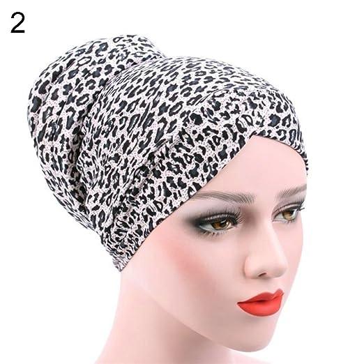 3c887aab23d Amazon.com  Women s Leopard Muslim Stretch Turban Hat Chemo Cap Hair Loss  Head Scarf Hijab  Clothing