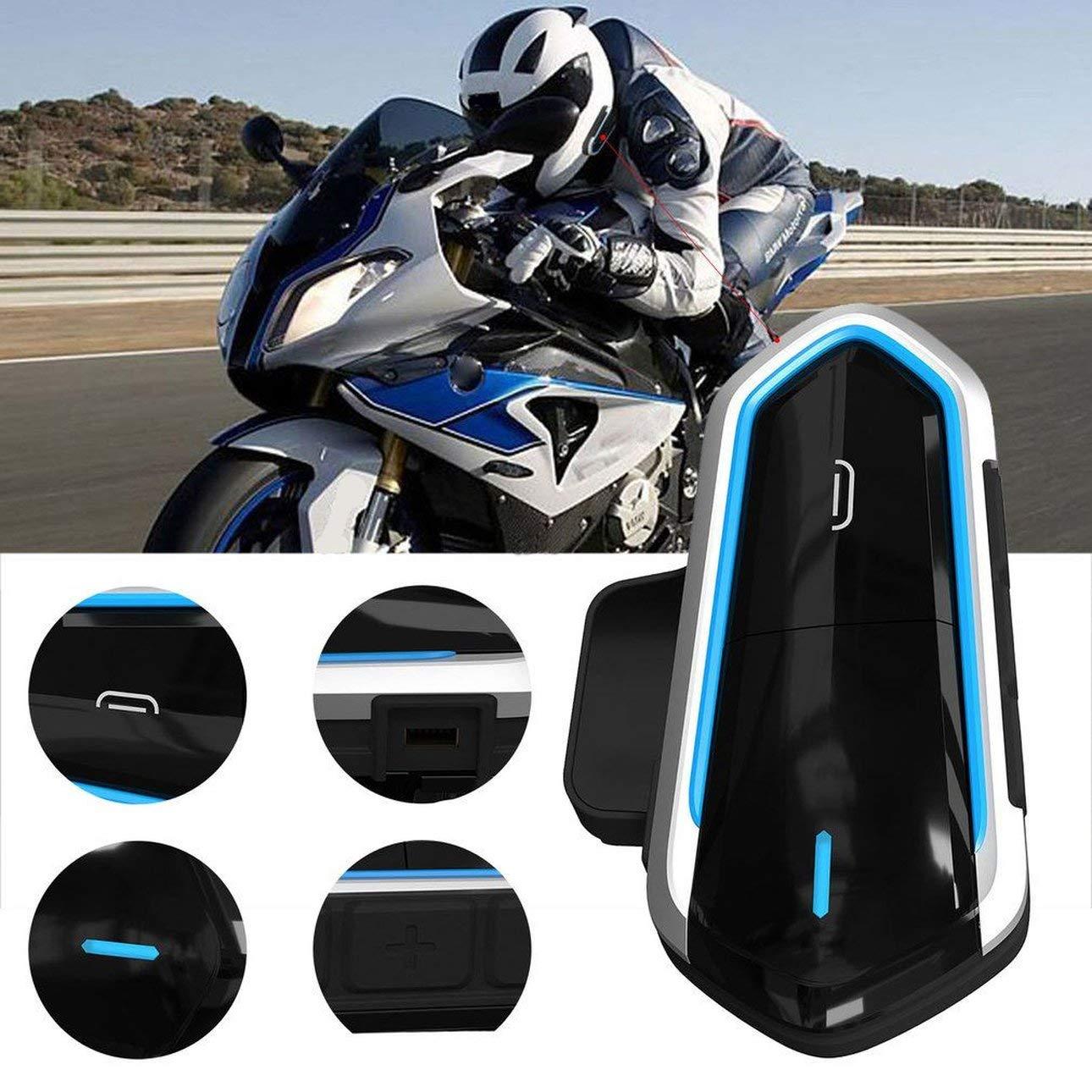 Noir et Bleu Pudincoco QTB35 Casque Moto interphone Casque pour Moto Casque interphone Moto interphone Casque Radio FM