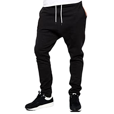 9e157411725cee SUFIAH Ladies Womens Gym Sweatpants Drop Crotch Design Jogging Tracksuit  Bottom Drawstring Waist Trousers: Amazon.co.uk: Clothing