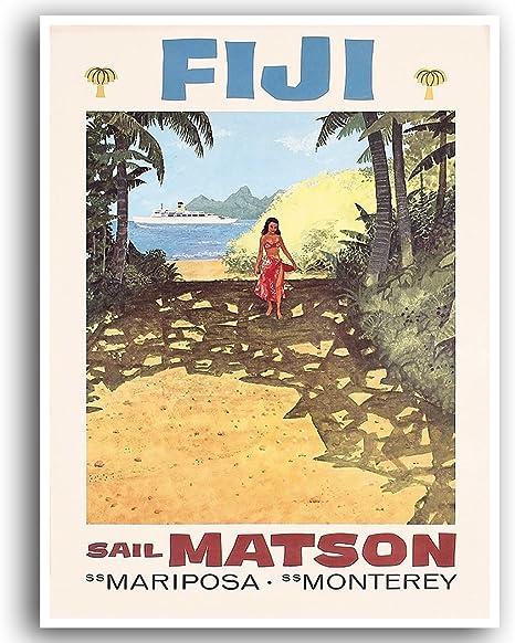 Fiji Map art poster print wall decor Travel Map office home Gift
