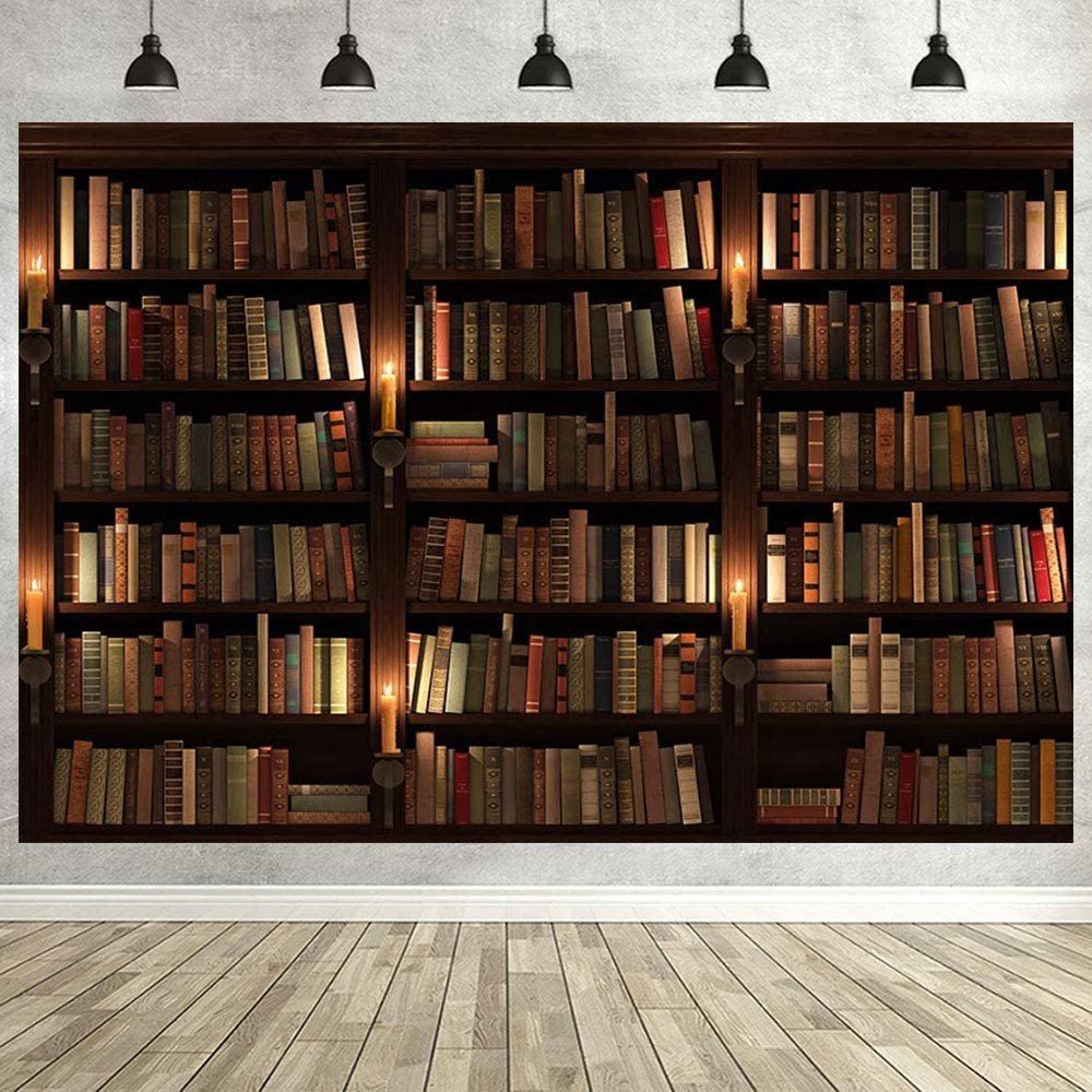 Avezano Bookshelf Backdrop Interior Study Room Vintage Bookcase Ancient Library Vinyl Photography Background for Zoom Meeting Adults Kids Portrait Photo Banner Studio Props,1.8 1.2m