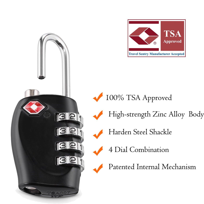 Noir Aspen Am/élior/é 2 x TSA Cadenas 4-Nombre Combinaison Voyage Valise Bagages Code de Sac Lock H/öhere Sicherheit avec C/âble de S/écurit/é 100cm