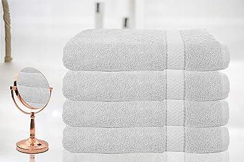 BellaCasa Casabella - Juego de 4 Toallas de baño (tamaño Grande, 100% algodón Egipcio Peinado), 100% algodón, Blanco, 4 Bath Sheet: Amazon.es: Hogar