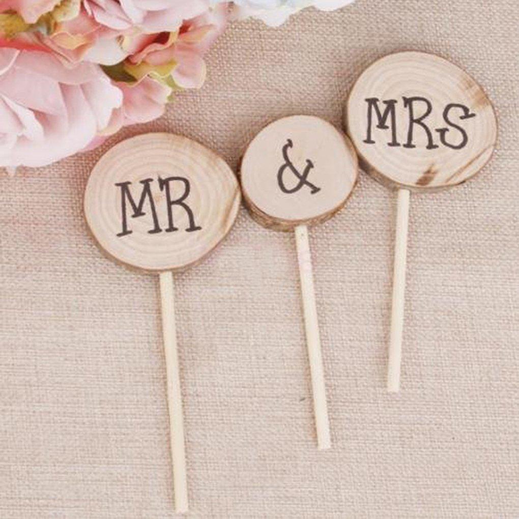 3pcs / set Holz Mr & Mrs Hochzeit Kuchen Topper Kuchen Stehen ...