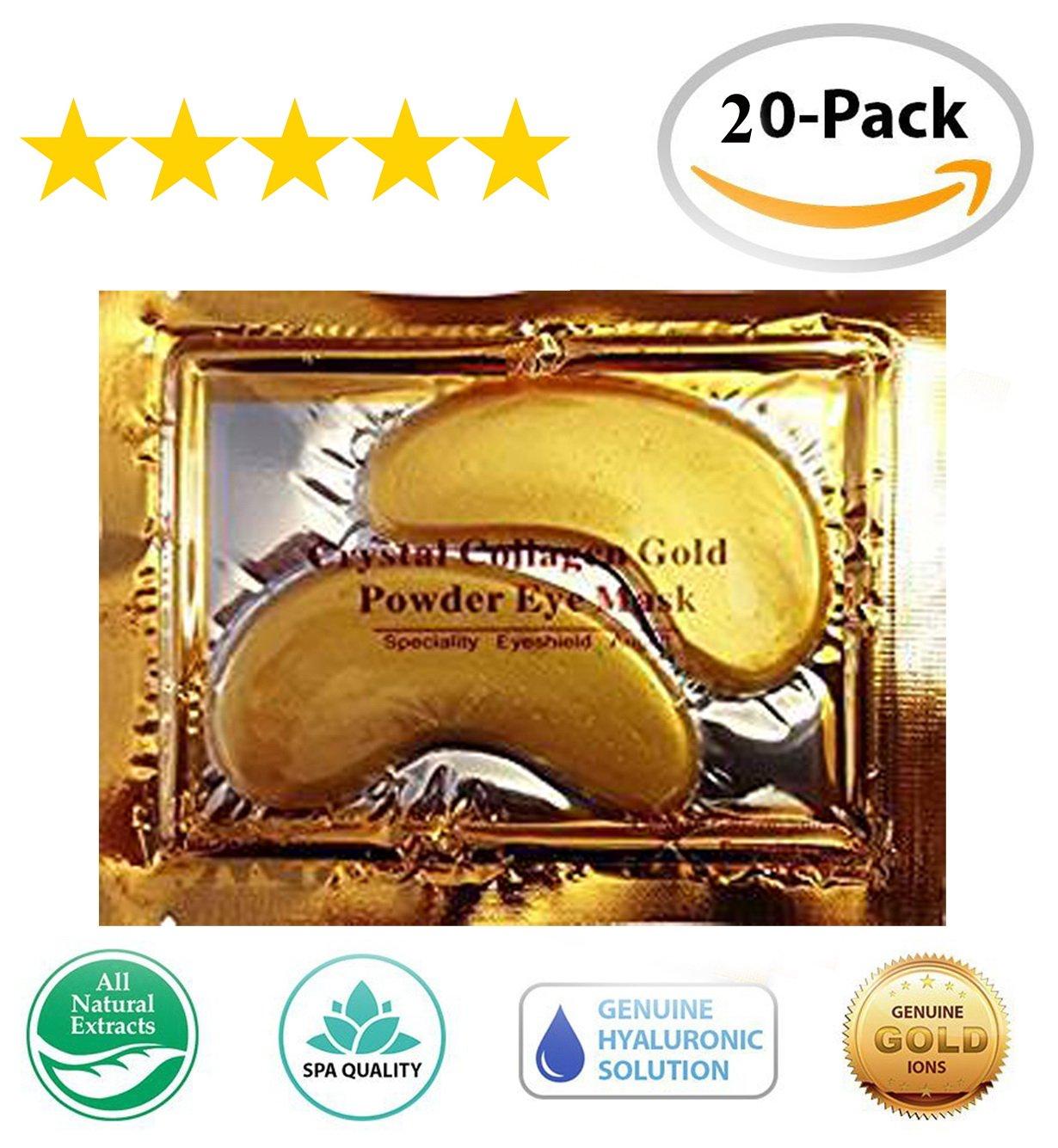 20 Pair/40 Pcs Anti Aging Crystal 24k Gold Collagen Eye Mask Smooth Wrinkles for Eye Skin Care, No Dark Circles Anti-wrinkle Eye Bags Treatment