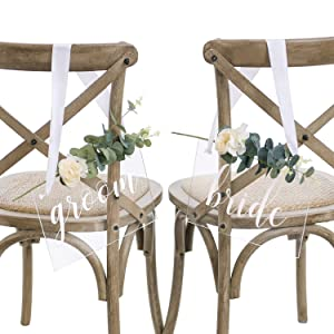Ling's moment Handmade Acrylic Wedding Chair Signs,Bride and Groom Chair Signs,Wedding Chair Back Sign with Eucalyptus
