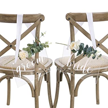 Ling's moment Handmade Acrylic Wedding Chair Signs,Bride and Groom Chair Signs,Wedding Chair Back Sign with Eucalyptus