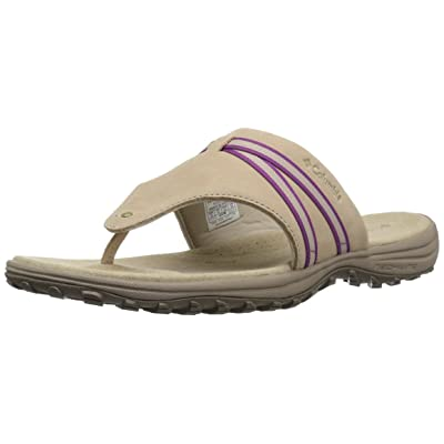 Columbia Women's SANTIAM FLIP Sport Sandal, Oxford tan, Intense Violet, 12 Regular US | Sport Sandals & Slides